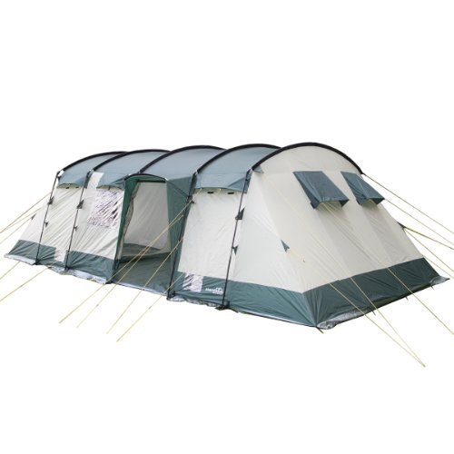 Skandika Hurricane Large Family Tunnel Camping Tent with 2-4 Sleeping Cabins, 5000 mm WC, Sand/Green, 8 Person
