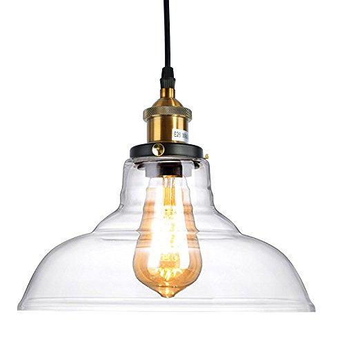 Lingkai lampada a sospensione retro in vetro d'epoca lampada da soffitto industriale struttura per e26 / e27