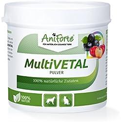 AniForte MultiVETAL Pulver 100 g für Hunde und Katzen, Natürliches Multi-Vitamin mit Bierhefe, Gerstengras, Acerola und Acai