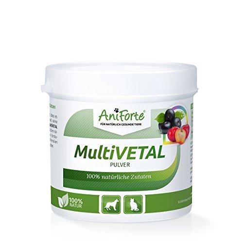 AniForte MultiVETAL Pulver 100 g für Hunde und Katzen, Natürliches Multi-Vitamin mit Bierhefe, Gerstengras, Acerola und Acai (Katze Nahrung)
