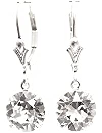 pewterhooter 925 Sterling Silver lever back earrings expertly made with sparkling Diamond White crystal from SWAROVSKI®