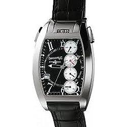 Men Eberhard 31047CAD Automatic Steel quandrante Black Leather Strap Watch