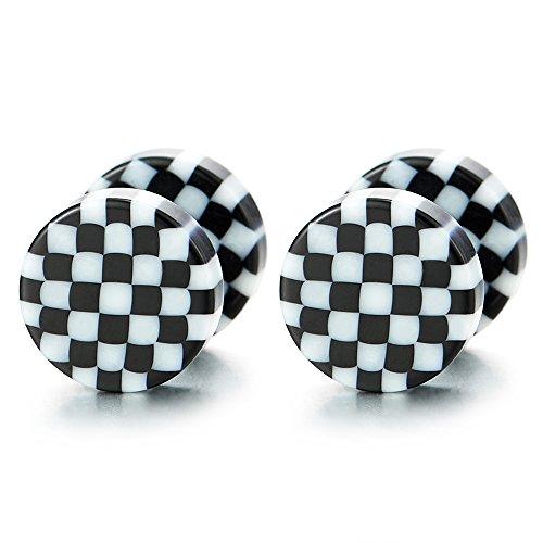 8MM Schwarz Weiß Kariertes Muster Kreis Ohrstecker Herren Damen Ohrringe Fake Plugs Ohr Cheater Tunnel Gauges Ohr-Piercing, 1 Paar