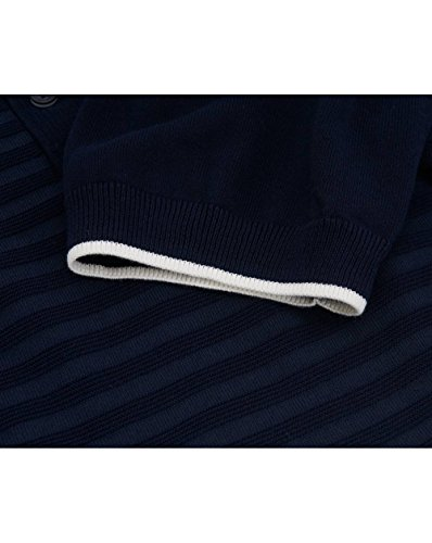 Fred Perry Authentics Textured Striped Knit Polo Blue Granite