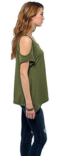 Urban GoCo Femmes Casual Grande Taille Hors épaule T-Shirt V-col Manches Courtes Tops heather grün