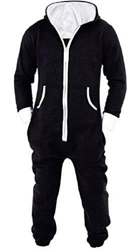 LazLake Herren Jumpsuit Jogger Jogging Anzug Trainingsanzug Overall Black XL