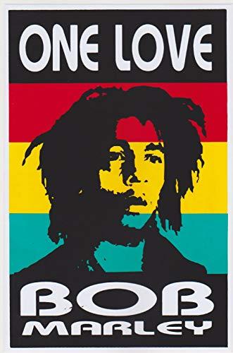Vinyl Sticker Decal Label Rasta Reggae Bob Marley One Love Jamaica Marijuana 1 sheet 28 x 18 cm