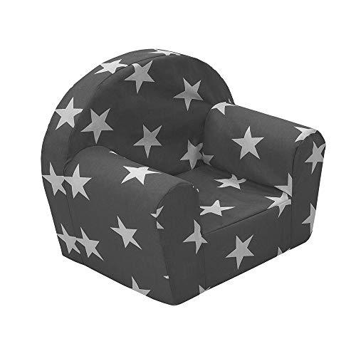 Vicco Kindersessel Kindersofa Minisofa Kindermöbel Sessel Sofa Schaumstoff (Sterne Grau)