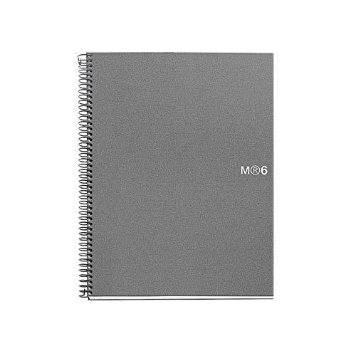 Mr BASICOS 47149-quaderno, 6Farben, A5, 150Blätter, CUADRICULA Polypropylen, Farbe: Silber