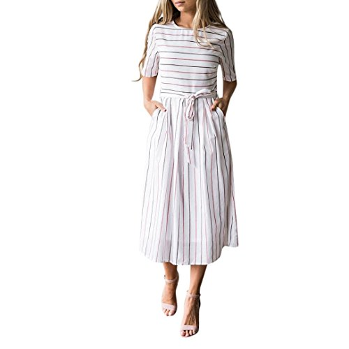 JERFER Womens Summer Beach Dresses Striped Sleeveless beiläufige mit Taschen Kleid