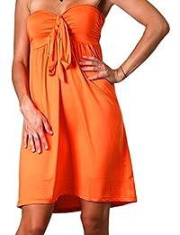 Femmes Angela Bandeau Tube Longueur Genou Été, Robe De Vacances, Couleur Unie - Orange, EU 36-38