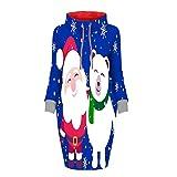 Zylione Damen Rollkragen Weihnachten Pullover Christmas Sweatshirt Minikleid Print Kordelzug Mode Langarm Herbst Winter Kleider Frauen Weihnachtskleid
