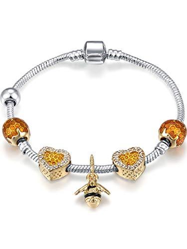 harm-Armband Honeycomb Honey Bee Square Charm-Perlen passen Frauen ()