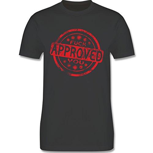 lustige Sprüche - Fuck you approved - L190 Herren Premium Rundhals T-Shirt Dunkelgrau