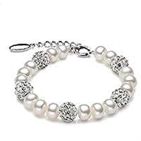 Pearl bracelet, crystal ball, 925 silver accessories