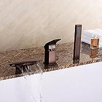 JOE uropean cascata vasca stile / doccetta olio strofinato bronzo rubinetto di vasca da bagno tre fori