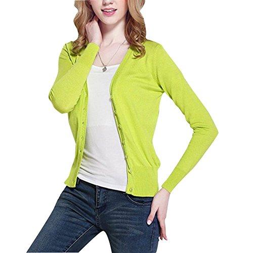 Donna Maglieria Cardigan Corto Maniche Lunghe Lavorato A Maglia Con Scollo A V Sweatshirt Maglioni Medio Verde