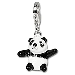 SilberDream Charm Panda 925er Silber Emaille Armband Anhänger s/w D1FC634