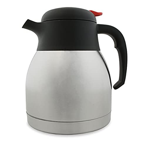 Stainless Steel Vacuum Coffee Pot 32oz / 1Ltr - Insulated Thermal Jug for Hot Beverages - Shatterproof Liner