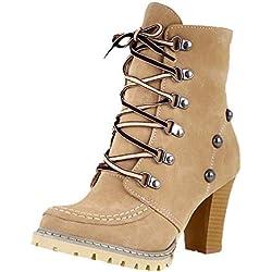 Botas tacón Altas Ancho Grueso Mujer Invierno 2018 PAOLIAN Botas Militares cuña con Cordones Botas Vaqueras caña Media Biker Señora Zapatos Cuero y sintético Piel Calzado Otoño