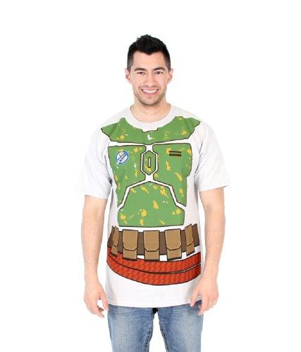 Empire Kostüm Back Wars Star Strikes - Star Wars I Am Boba Fett Flip Erwachsene Silber T-Shirt (X-Large)