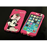 Disney Pink Minnie Mickey Mouse Face iPhone/Samsung Front & Back Plate Case Cover (iPhone 6/6S, Pink Minnie Mouse)