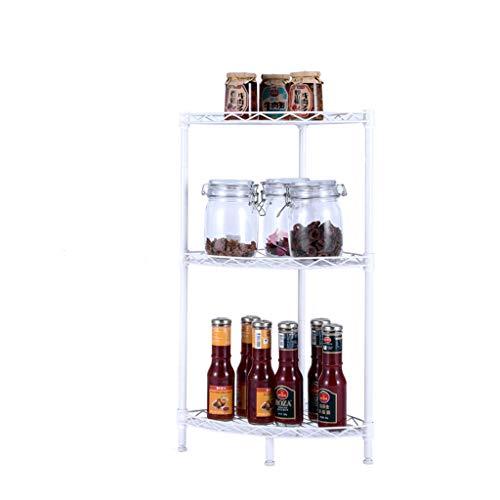 Lsjt shelf telaio angolare multistrato bagno bagno scaffale da cucina scaffale da cucina bianco avorio portaoggetti da terra (dimensioni : 3layer)