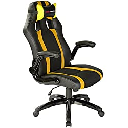 Mars Gaming MGC2BY - Professioneller Gaming-Stuhl mit Rollen (Neigung und Höhe verstellbar, 15 Grad Neigung, gepolsterte Kopfstütze, klappbare und gepolsterte Armlehnen, ergonomisch), gelb