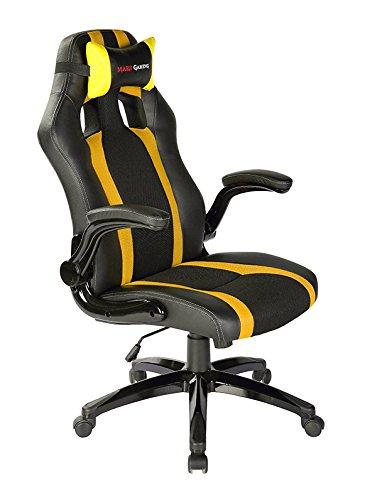 Mars Gaming MGC2BY - Silla gaming profesional con ruedas (inclinación y altura regulables, inclinación 15 grados, reposacabezas acolchado, reposabrazos abatibles y acolchados, ergonómica), amarillo