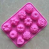 Tofree 12Fori Quadrati Rosa Fiore Silicone Cottura stampi Mooncake Molds Cake stampi di Pane del Sapone stampi Fai da Te Utensili da Cucina