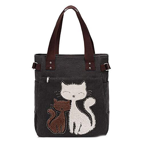 LIAN Store Damen Handtasche Schultertasche Lässige Katzendruck Tragetasche für Frauen Eco Wiederverwendbare Einkaufstaschen Reisen, Schwarz - Schwarz - Größe: Einheitsgröße