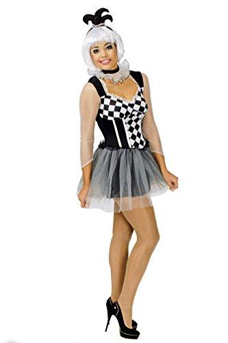 Karneval-Klamotten Harlekin Clown Pierrot Frauen Damen-Kostüm sexy schwarz-weiß kariert Hofnarr-Kostüm Kleid Halskrause inkl. Mini Narren-Hut Größe 36/38