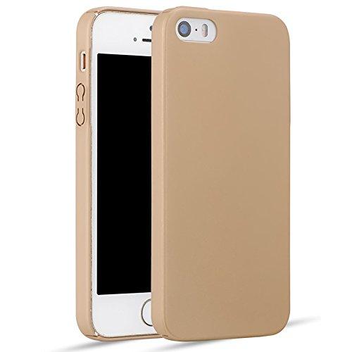 iPhone 6/6S Plus Coque + Protecteur d'écran en verre trempé, [Ultra Mince & Léger] Anti-Rayures Étui en plastique, Résistant aux empreintes digitales Housse, entièrement protecteur dur Case - Rouge Or