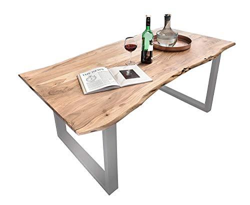 SAM Baumkantentisch 140x80 cm Quarto, Esszimmertisch aus Akazie, Holz-Tisch mit Silber lackierten Beinen