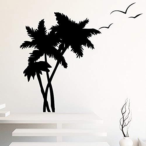 yiyiyaya Kokospalme Vogel Wandaufkleber für Wohnzimmer Schlafzimmer dekor Abnehmbare Vinyl Bäume Wandtattoos für Wohnzimmer Dekoration schwarz M 30 cm X 25 cm