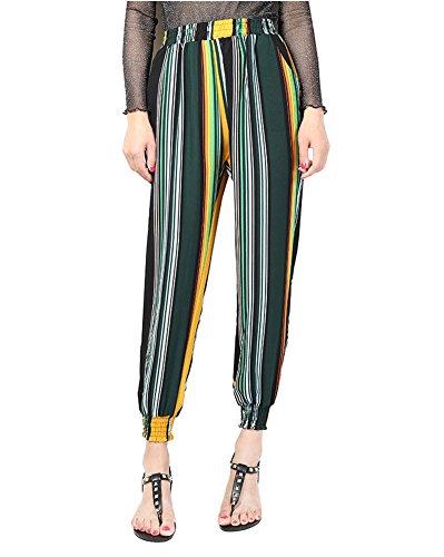 Pantalone Donna con Coulisse alle Caviglie Pantaloni Sportivi In Colorato Motivo In Fiori Con Elastico 12