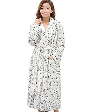 DMMSS Le signore di Robe di corallo del panno morbido imbottito lungo manica pigiama vestaglia di flanella , l