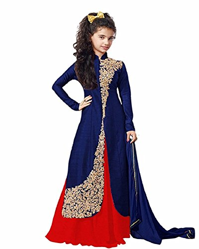 Yjack Creation Kid Party Wear Blue Banglory Silk Semi-Stitched Dress for Girl...