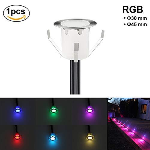 RSWLED【1er Set】Boden Einbauleuchten Ø30mm LED Treppen Küche Garten Einbaustrahler Licht 0,3W DC12V IP67 Wasserdicht Außen Terrassenlampen Bodenstrahler Möbellampen (RGB) (Einbauleuchten Boden-licht)