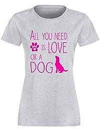 Ridgeback Damen-T-Shirt I Love My Dog Girlie Shirt M/ädchen Hundemotiv Hunderasse Hunde Spr/üche Shirt f/ür Frauen