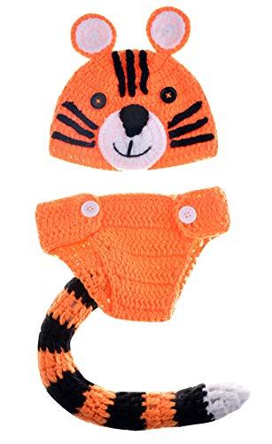 HAPPY CHERRY Fotografie Prop Baby Kostüm Stricken Handarbeit Hut Neugeborene Kostüm Tiger Outfits