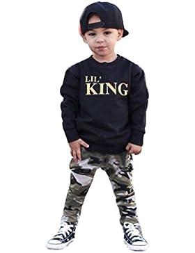 Babykleidung ,Sannysis Kleinkind Kinder Baby Boy Letter T-Shirt Tops + Camouflage Hosen Outfits Kleider Set