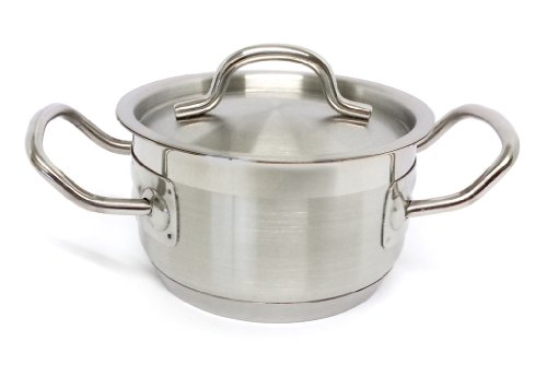 Suprem inox Linea VIP Professional Kitchen / Chef Quality Stainless Steel Casserole Pot / Stew Pan With Lid. Small Size 12 x 7cm - Specialised Cookware - Gas / Electric / Induction Ready - Model No. 4112/5