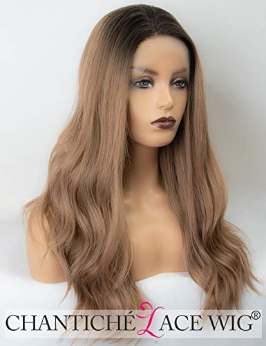 Chantiche Light Brown Ombre Lace Front Wig 2 Tones Natural Wavy Synthetic Wigs with Dark Roots for Women Heat Resistant Medium Length 18 Inches -