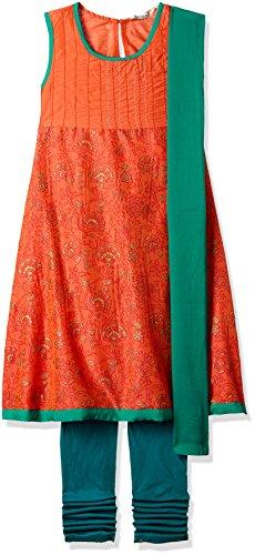 Karigari Girls' A-Line Regular Fit Cotton Salwar Suit Set (272486631_PEACH_08Y)