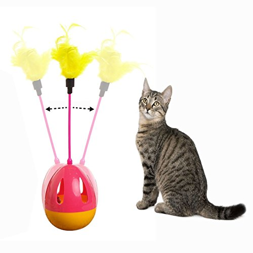 OFKPO Juguete Interactivo para Gato - Interactivo Gato Juguetes bastoncillos con Plumas