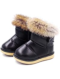 LanLan Zapatos de niños, Calzados/Zapatillas/Sandalias de niños Botas de Nieve de niña Botas de Tobillo de Cabello cálido de Moda de Invierno para niños al Aire Libre