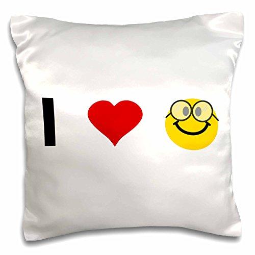 3dRose PC_113101_1 Kissenbezug, Motiv I Love Heart Geeks - niedliches Nerdy Smiley Gesicht mit Brille - Geek Nerd Pride Nerdfighter Nerds, 40,6 x 40,6 cm