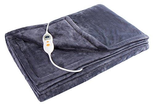 Vidabelle Elektrische Kuschel-Wellness Heizdecke premium, maschinenwaschbar, mit 6 Temperaturstufen + Überhitzungsschutz in dunkelgrau
