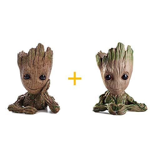 WILLBAN 2 Stück Baby Groot Blumentopf Figur aus Guardians of The Galaxy für Stiftehalter Sukkulenten Kinder -